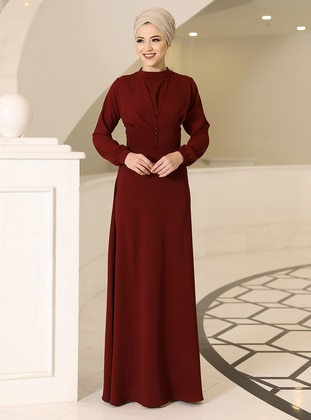 Maroon - Crew neck - Unlined - Modest Dress