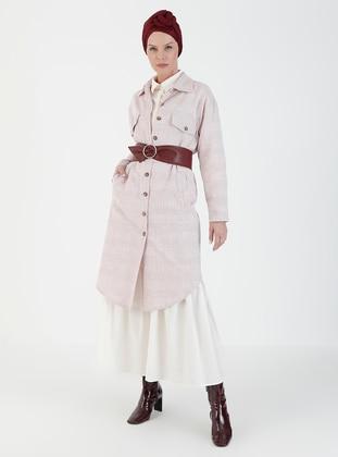 Pink - Plaid - Unlined - V neck Collar - Topcoat