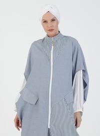 Blue - Unlined - V neck Collar - Topcoat