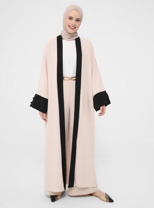 Beige - Black - Unlined - Abaya