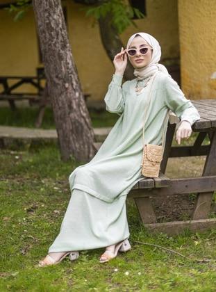 Mint - Button Collar - Unlined - Modest Dress