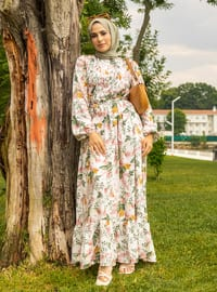 White - Dusty Rose - Floral - Crew neck - Unlined - Modest Dress