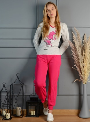Gray - Pink - V neck Collar - Multi - Pyjama Set