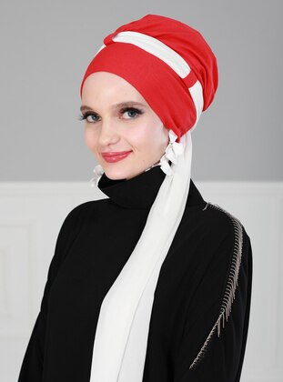 White - Red - Plain - Instant Scarf