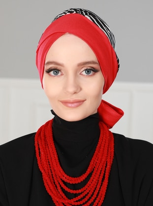 Red - Printed - Instant Scarf