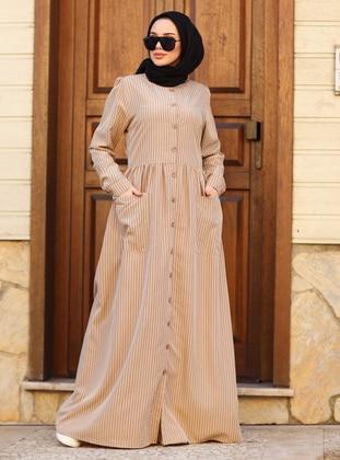 Mink - Stripe - Round Collar - Unlined - Modest Dress