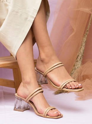 Beige - Sandal - High Heel - Slippers