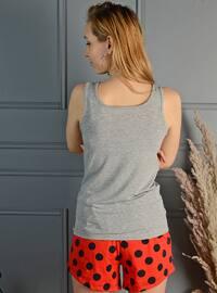 Gray - Red - Short Set