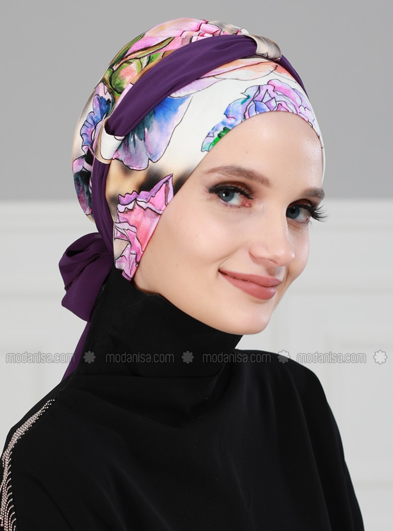 Purple - Printed - Instant Scarf