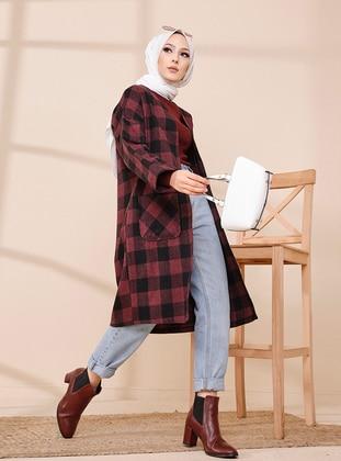Maroon - Checkered - Unlined - Jacket