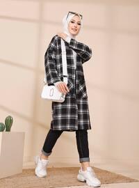 Ecru - Gray - Plaid - Unlined - Jacket