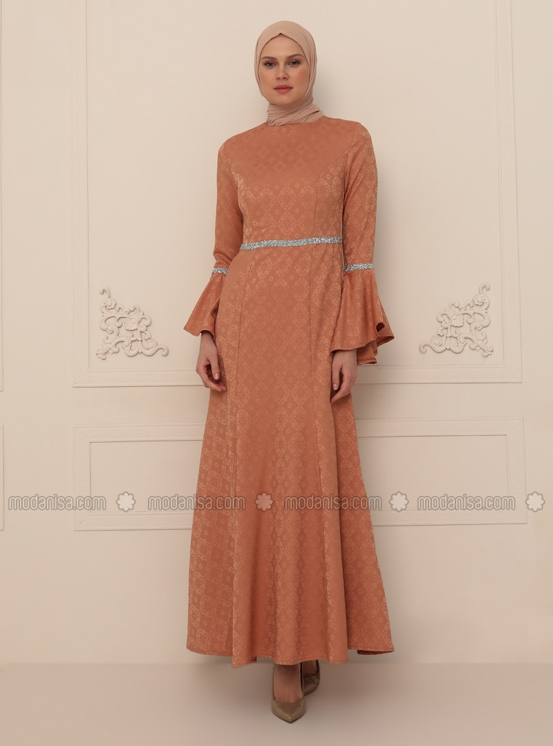 Onion Skin - Unlined - Crew neck - Modest Evening Dress