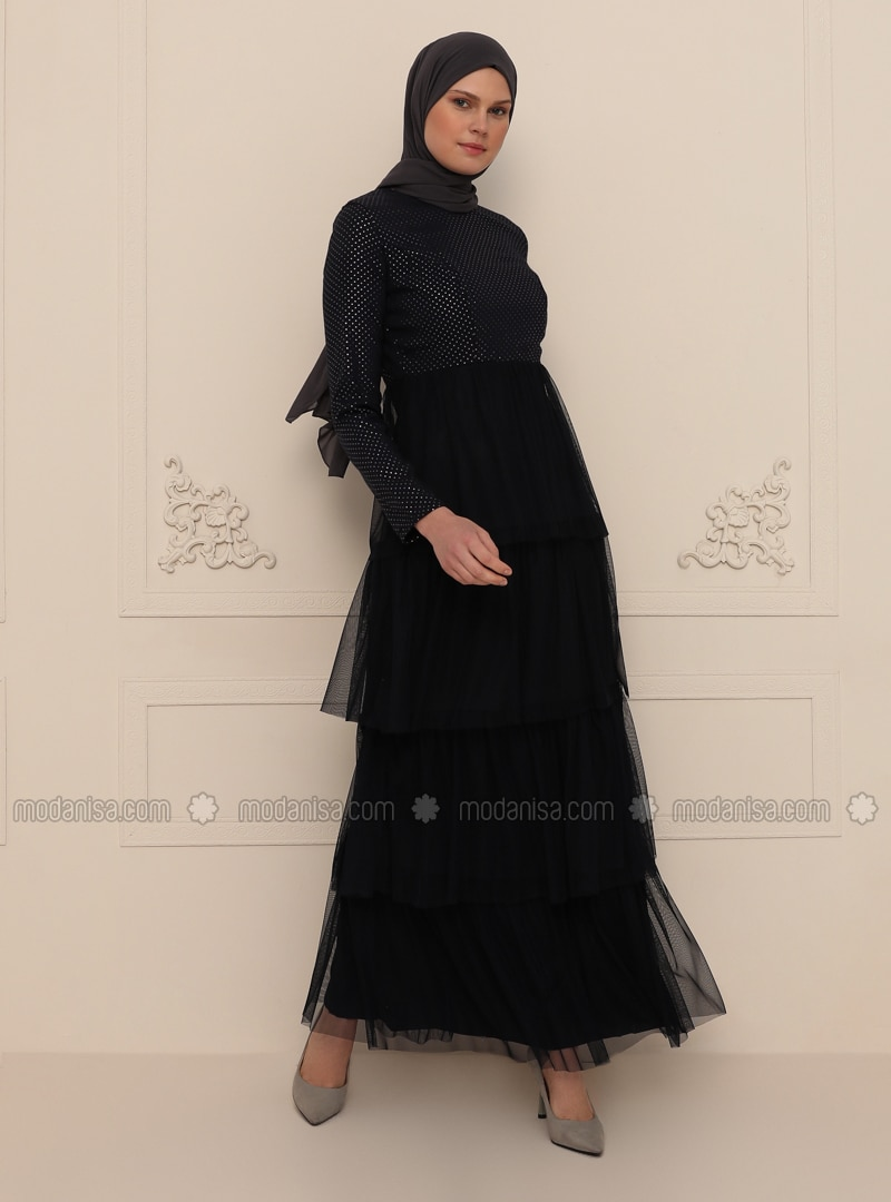 Navy Blue - Fully Lined - Crew neck - Modest Evening Dress