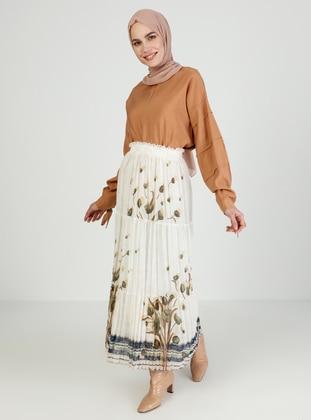 Khaki - Cream - Floral - Fully Lined - Skirt
