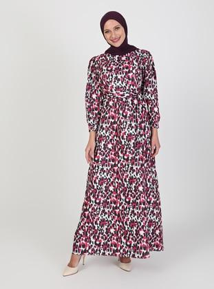 Fuchsia - Multi - Crew neck - Unlined - Modest Dress