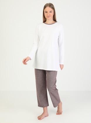 Maroon - Crew neck - Plaid - Pyjama Set