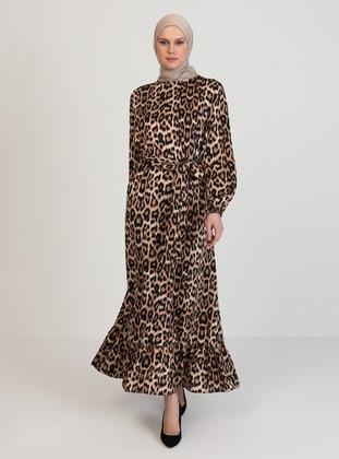 Brown - Leopard - Crew neck - Unlined - Brown - Leopard - Crew neck - Unlined - Modest Dress
