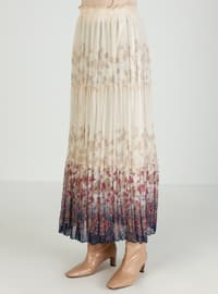 Camel - Dusty Rose - Floral - Fully Lined - Skirt