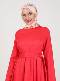 Red - Crew neck - Unlined - Modest Dress