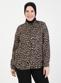 Brown - Leopard - Point Collar - Blouses