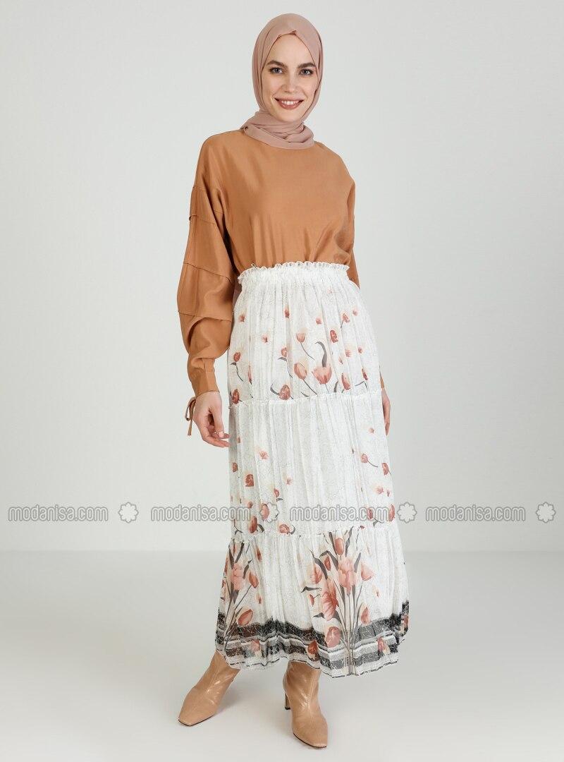 Terra Cotta - Cream - Floral - Fully Lined - Skirt