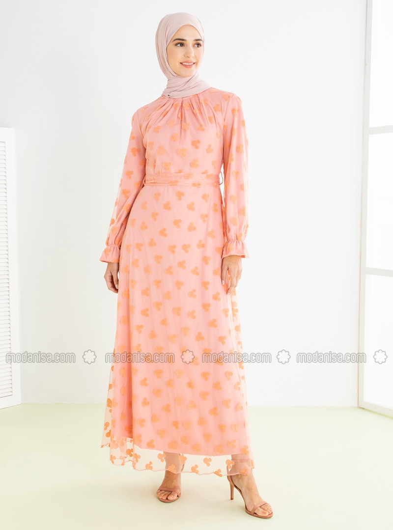 Powder - Multi - Crew neck - Fully Lined - Modest Dress