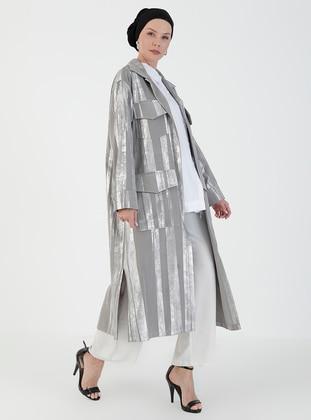 Gray - Unlined - V neck Collar - Topcoat