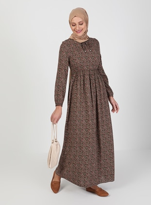 Khaki - Floral - Crew neck - Unlined - Modest Dress