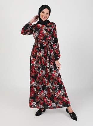 Red - Black - Floral - Crew neck - Unlined - Modest Dress