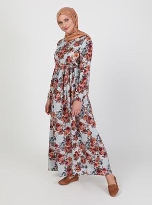Green - Floral - Crew neck - Unlined - Modest Dress