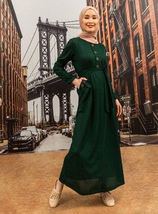 Emerald - Point Collar - Unlined - Modest Dress