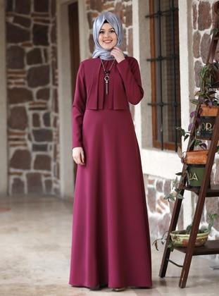 Plum - Plum - Unlined - Point Collar - Modest Evening Dress