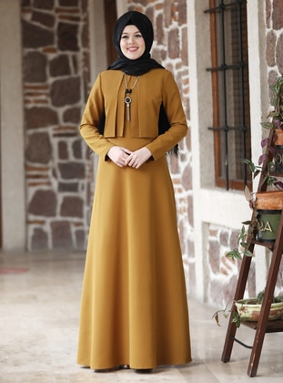 Mustard - Tan - Unlined - Point Collar - Modest Evening Dress