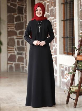 Black - Tan - Unlined - Point Collar - Black - Unlined - Point Collar - Modest Evening Dress