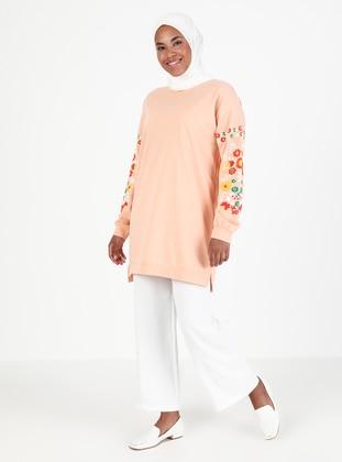 Crew neck - Floral - Salmon - Sweat-shirt