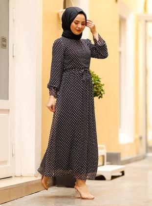 Black - Polka Dot - Crew neck - Fully Lined - Modest Dress