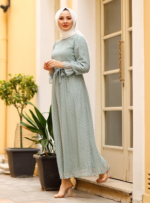 Sea-green - Polka Dot - Crew neck - Fully Lined - Modest Dress