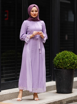 Lilac - Polka Dot - Crew neck - Fully Lined - Modest Dress