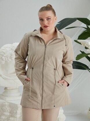 Cream - Plus Size Trench coat - RMG XXL