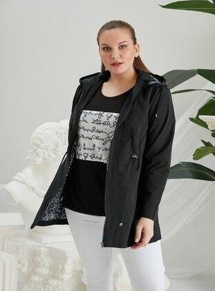 Black - Plus Size Trench coat - RMG XXL