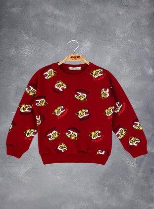 Printed - Crew neck - Unlined - Maroon - Boys` Sweatshirt
