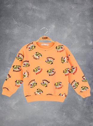 Printed - Crew neck - Unlined - Orange - Boys` Sweatshirt