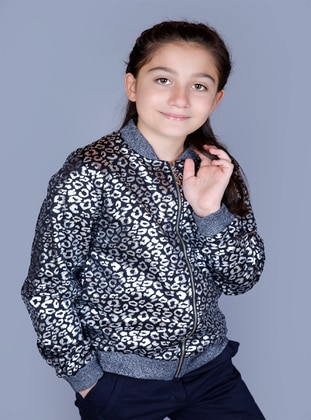 Leopard - Crew neck - Fully Lined - Pale Grey - Girls` Cardigan - Toontoy