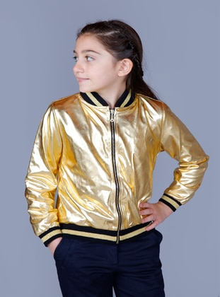 Crew neck - Fully Lined - Yellow - Girls` Cardigan - Toontoy