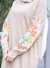 Crew neck - Floral - Mink - Sweat-shirt