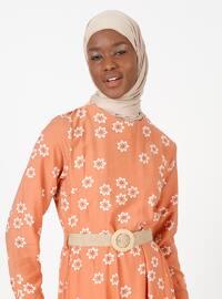Terra Cotta - Floral - Crew neck - Unlined - Modest Dress
