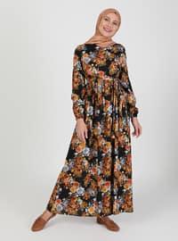 Mustard - Black - Floral - Crew neck - Unlined - Modest Dress