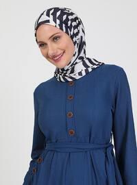 Indigo - Crew neck - Unlined - Modest Dress