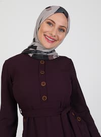 Purple - Crew neck - Unlined - Modest Dress