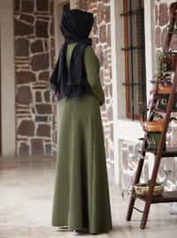 Khaki - Khaki - Unlined - Point Collar - Modest Evening Dress